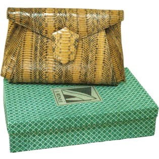 80's Snakeskin Envelope Clutch with Optional Strap