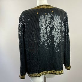 80's Black And Gold Sequin Jacket by Stenay