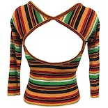 another view of 70's Striped Open Back Knit Blouse