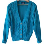 80's Teal Chunky Cable Knit V-Neck Cardigan Sweater by Patsy's Place