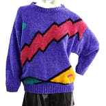 80's Velour Colorblock Sweater by Here A Hug