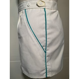 80's White Shorts with Green Trim Piping by Rr Sportsware