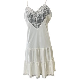 80's White Slip with Lace by Body Chic