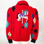 another view of 80's Wool Carousel Horse Cardigan by Berek