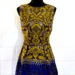 another view of 80's Yellow & Blue Dress by Oscar De La Renta