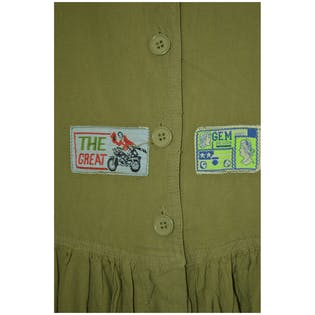 80's Army Green Sleeveless Jumpsuit with Patches