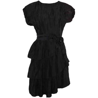 80's Black Avant Garde Ruffle Dress