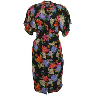 80's Black Floral Button Down Dress