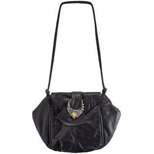 80's Black Leather Bag with Gold Star Detail