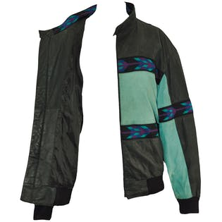 80's Black Leather Bomber with Aqua Stripe by Adler