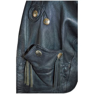 80's Black Leather Cropped Jacket with Large Studs and Fringe by Etches Leder