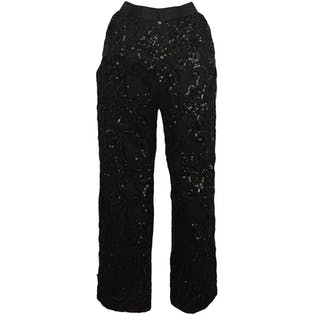 80's Black Sequin Pants by Bill Blass