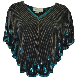 80's Black Sequined Short Dolman Sleeve Shirt by Argenti