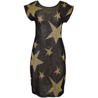 80's Black and Gold Star Dress by Dress Code