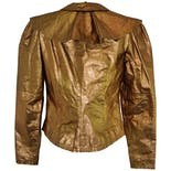 another view of 80's Bronze Leather Cape Collar Jacket by Carol Horn