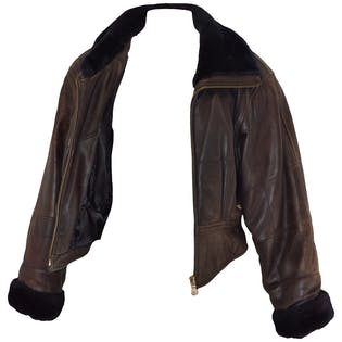 80's Brown Leather Coat with Black Fur Trim by Caché