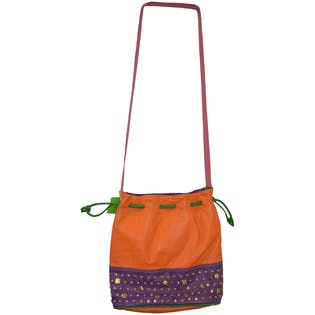 80's Color Blocked Bucket Bag with Gold Studs