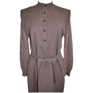 80's Purple Grey Wool Dress by Joan Leslie