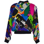 another view of 80's Magazine Bright Color Printed Bomber Jacket by Patina