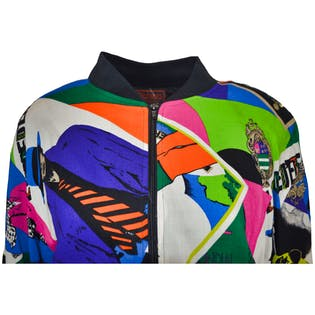 80's Magazine Bright Color Printed Bomber Jacket by Patina