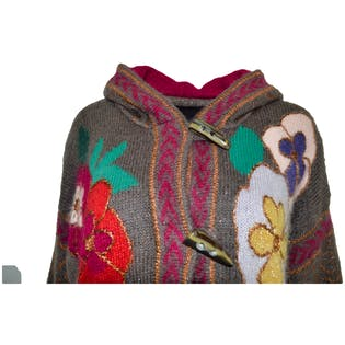 80's Mohair Gray and Floral Cardigan