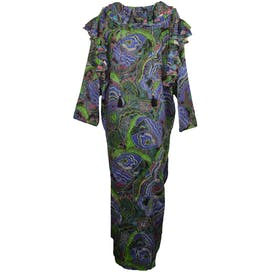 80's Multicolor Printed Maxi Dress with Ruffle by Diane Freis