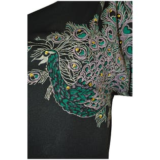 80's One Shoulder Jumpsuit with Peacock Design