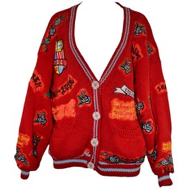 80's Decorative Patch Letterman Cardigan by No!