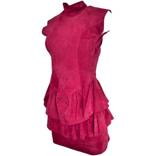80's Pink Suede Ruffled Dress by Chamois