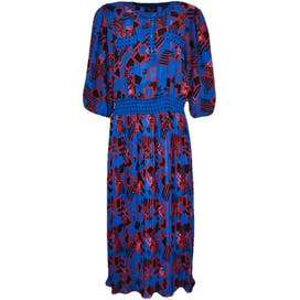 80's Printed Midi Dress with Quarter Length Sleeves by Diane Freis