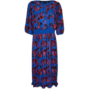80's Printed Midi Dress with 3/4 Sleeves by Diane Freis