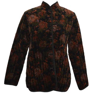 80's Quilted Velvet Floral Coat by Jon Woods