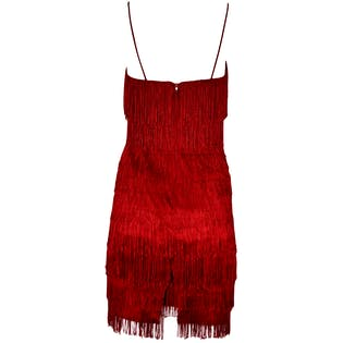 80's Red Fringe Spaghetti Strap Dress by New Leaf