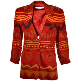80's Red Patterned Blazer by Linda Allard/Ellen Tracy