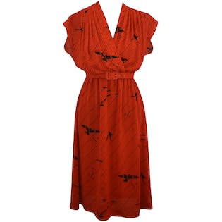 80's Red Print Sheer Dress by Twin Girl of Hollywood