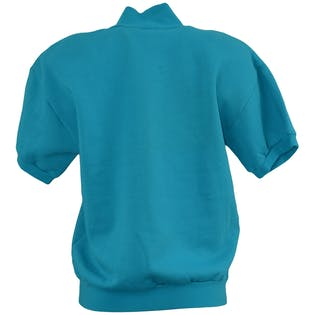80's Short Sleeve Turquoise Sweatshirt with Abstract Applique
