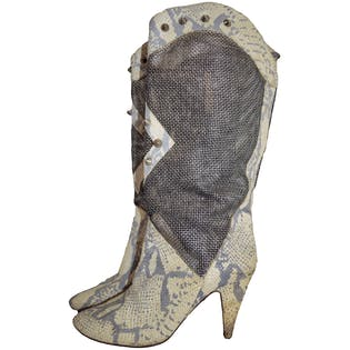 80's Snake Print Boots with Mesh by Sacha London