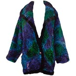 80's Tri Colored Patterned Fur Coat