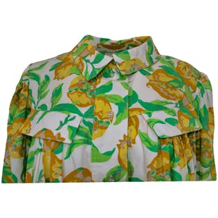 80's Yellow Floral Tent Blouse by Abanita Paris