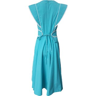 80's Aqua Dress with White Trim and Belt by Gene Roye