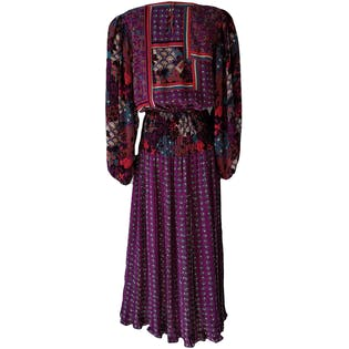 80's Aubergine, Red, & Turquoise Georgette Midi Dress by Diane Fres