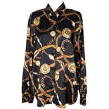 80's Baroque Gold Chain Button Up by Worthington