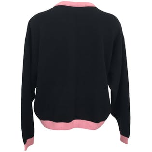 80's Black and Pink Pullover Sweater by Maude Claire