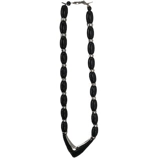 80's Black and Silver V-Shape Necklace