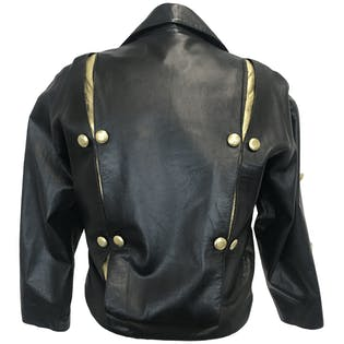 80's Black Leather Jacket with Gold Leather and Button Details by Sugelle