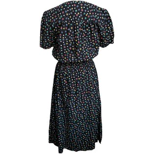 80's Black Short Sleeve Dress with Polka Dots by Willow Ridge