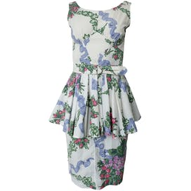 80's Blue White Pink and Green Peplum Dress