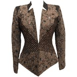 80's Brown Structured Brocade Jacket