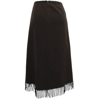 80's Brown Wool Fringe Hem Skirt by Pendleton