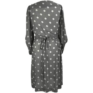 80's Cinch Waist Polka Dot Midi Dress by John Robert